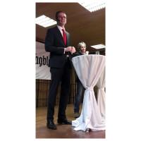 Thomas Meidl bei der Podiumsdiskussion in Bergrheinfeld
